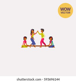 Philippines people dancing tinikling icon