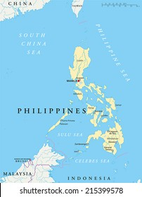 Philippines Political Map with capital Manila, national borders, most important cities, rivers and lakes. English labeling and scaling. Illustration.