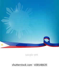 philippines ribbon flag on blue sky background
