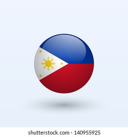 Philippines round flag. Vector illustration.
