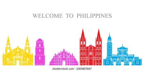 Philippines set. Isolated Philippines architecture on white background