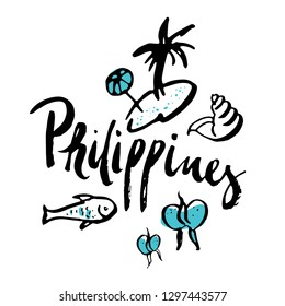 Philippines set of travel icons with traditional symbols and calligraphic isolated vector illustration. Hand drawn inscription of Philippines