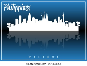 Philippines, skyline silhouette vector design on parliament blue and black background.