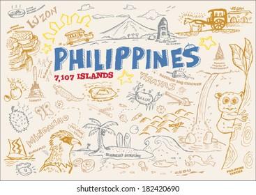 Philippines Tourism Doodle Collection. EPS10 Editable Clip Art Outline Illustration