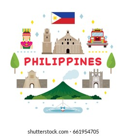 Philippines Travel Attraction Label, Landmarks, Tourism and Traditional Culture