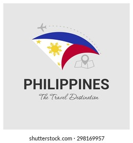 Philippines The Travel Destination logo - Vector travel company logo design - Country Flag Travel and Tourism concept t shirt graphics - vector illustration