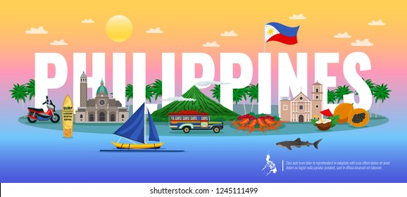 Philippines typographic composition with traditional food various landmarks and animals on gradient background horizontal vector illustration