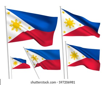 Philippines vector flags set. 5 wavy 3D cloth pennants fluttering on the wind. EPS 8 created using gradient meshes isolated on white background. Five flagstaff design elements from world collection