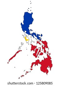 Philippines vector map with the flag inside.