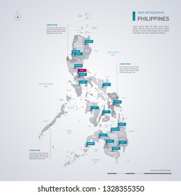 Philippines vector map with infographic elements, pointer marks. Editable template with regions, cities and capital Manila.