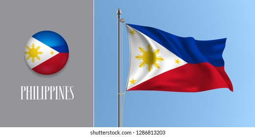 Philippines waving flag on flagpole and round icon vector illustration. Realistic 3d mockup of white red Pilipino flag and circle button