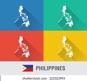 Philippines world map in flat style with 4 colors. Modern map design.