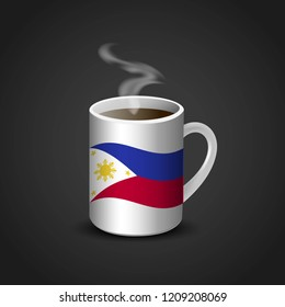 Phillipines flag coffee cup design vector