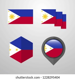 Phillipines flag design set vector