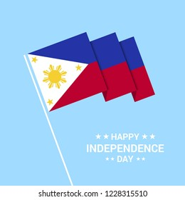 Phillipines Independence day typographic design with flag vector