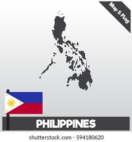 phillipines map and flag with flat style and dark color eps.10