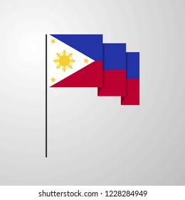 Phillipines waving Flag creative background