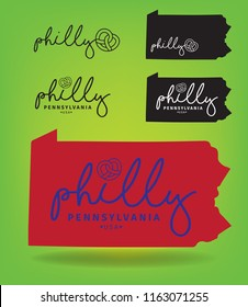 philly Pennsylvania with map, vector eps 10.