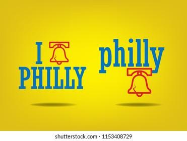 i philly, Philadelphia logo sign concept, vector eps 10.