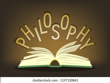 Philosophy. Open book with hand written text. Vector illustration.
