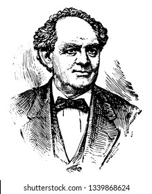 Phineas Taylor Barnum 1810 to 1891 he was an American politician and showman famous for promoting celebrated hoaxes and for founding the Barnum & bailey vintage line drawing or engraving illustration