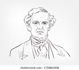 Phineas Taylor Barnum famous American showman, politician, and businessman vector sketch portrait