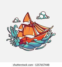 Phinisi boat illustration