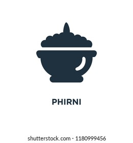 Phirni icon. Black filled vector illustration. Phirni symbol on white background. Can be used in web and mobile.