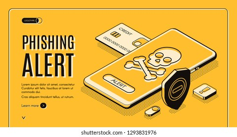 Phishing alert security mobile app, solution for personal data and finances secure from unauthorized access isometric vector web banner. Skull with crosses bones on phone screen line art illustration