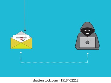 Phishing attack on email. Vector illustration.