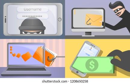 Phishing banner set. Cartoon illustration of phishing vector banner set for web design