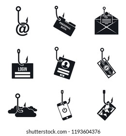 Phishing email icon set. Simple set of phishing email vector icons for web design on white background