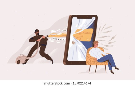 Phishing, hacker attack vector illustration. Hacker attempting to obtain sensitive information , usernames, passwords and credit card details. Financial, wire fraud, stealing money concept.