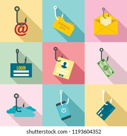 Phishing icon set. Flat set of phishing vector icons for web design