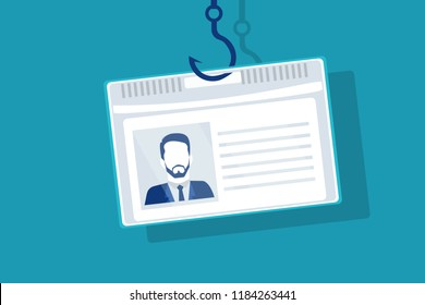 Phishing id identity or personality concept. Hacking credit card or personal information. Steal bank account identification data. Online security. Eps Vector illustration Minimal flat blue white style
