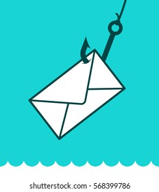 Phishing mail concept with an envelope caught on a fishing hook over a blue background and lapping water in a play on words, eps8 vector illustration