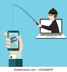 Phishing scam, hacker attack and web security vector concept. Illustration of phishing and fraud, online scam and steal.