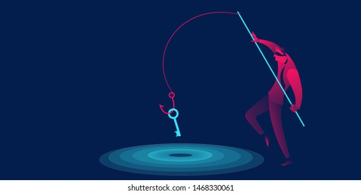 Phishing, scam, hacker business concept in red and blue neon gradients.  Man with fishing hook stealing key