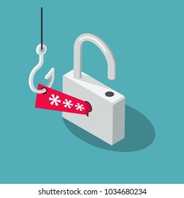 Phishing Scam vector symbol with padlock, red security password and fishing hook isolated on blue background. Flat design, easy to use for your website or presentation.