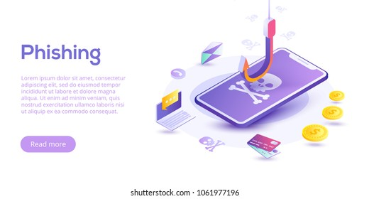 Phishing via internet isometric vector concept illustration. Email spoofing or fishing messages. Hacking credit card or personal information website. Cyber banking account attack. Online sucurity.