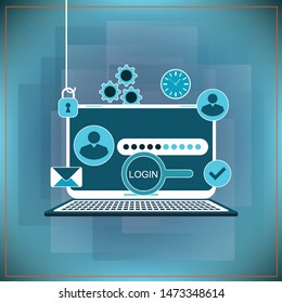Phishing via internet vector concept illustration. Fishing by email spoofing or instant messaging. Hacking credit card or personal information through website. Cyber banking account attack.