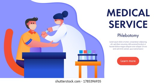 Phlebotomist collecting blood sample from patient. Concept medical service vector illustration.
