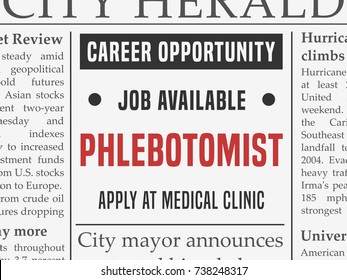 Phlebotomist medical career - job classified ad vector in fake newspaper.