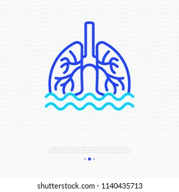 Phlegm, sputum in lungs thin line icon. Modern vector illustration of pneumonia symptom.
