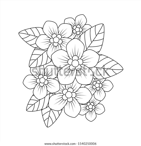 Phlox Flower Colouring Book Adults Stock Vector (Royalty Free) 1540250006