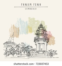Phnom Penh, Cambodia, Asia. Independence monument Vintage travel sketch. Artistic hand drawn postcard in vector