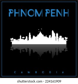 Phnom Penh, Cambodia, skyline silhouette vector design on parliament blue and black background.