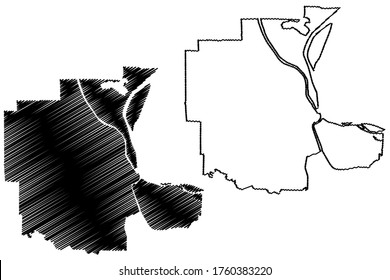 Phnom Penh City (Kingdom of Cambodia, Kampuchea) map vector illustration, scribble sketch City of Krong Chaktomuk Serimongkul map