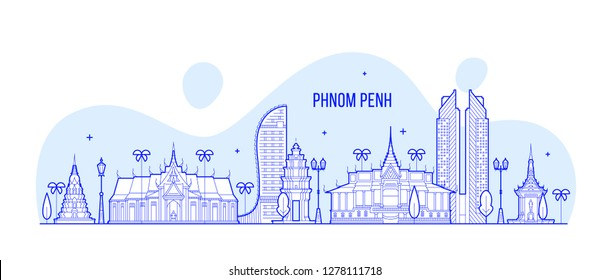Phnom Penh skyline, Cambodia. This illustration represents the city with its most notable buildings. Vector is fully editable, every object is holistic and movable