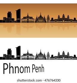 Phnom Penh skyline in orange background in editable vector file